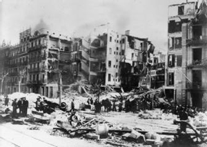 Bomb damage in Barcelona, 1938